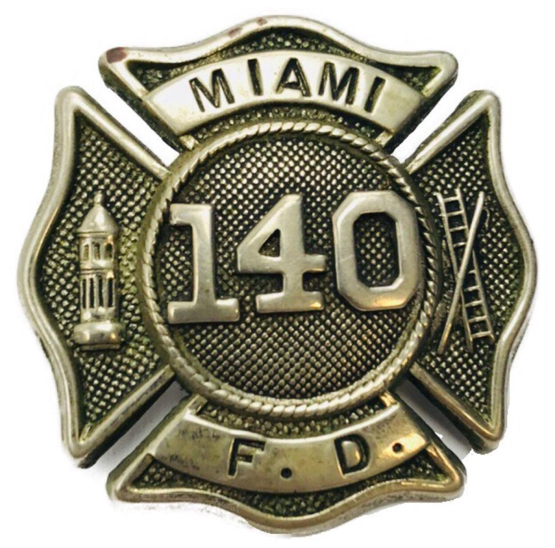Vintage City of Miami Fire Department Hat/Helmet Badge
