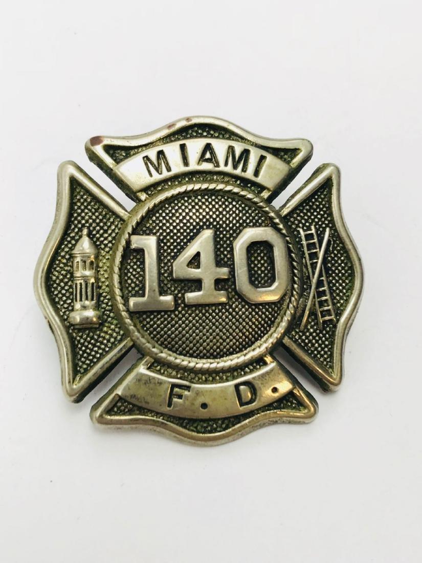 Vintage City of Miami Fire Department Hat/Helmet Badge - 2