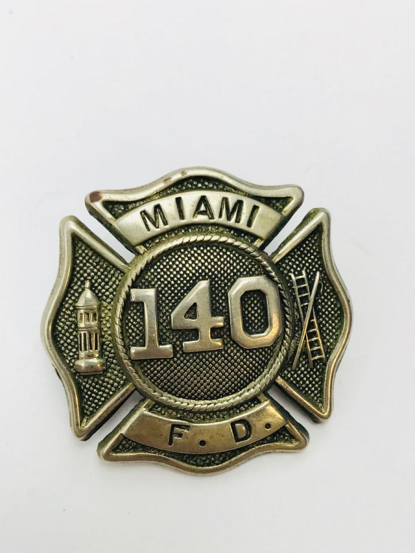 Vintage City of Miami Fire Department Hat/Helmet Badge - 3
