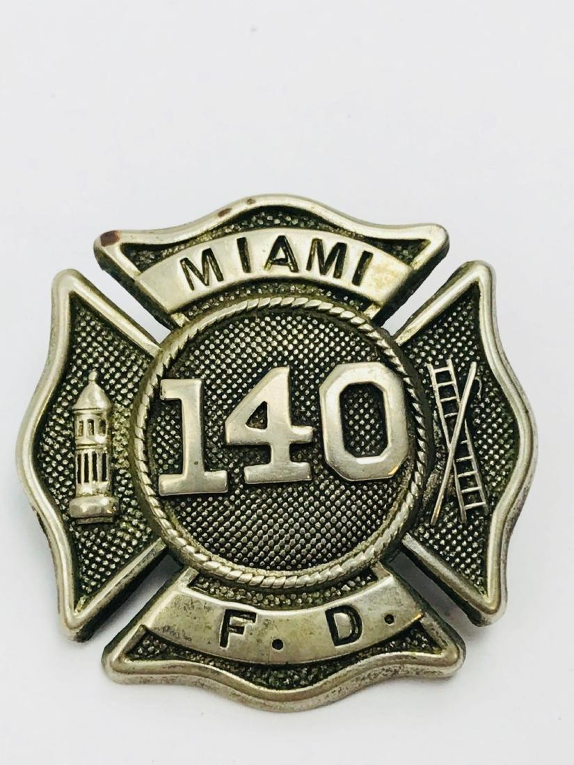 Vintage City of Miami Fire Department Hat/Helmet Badge - 9