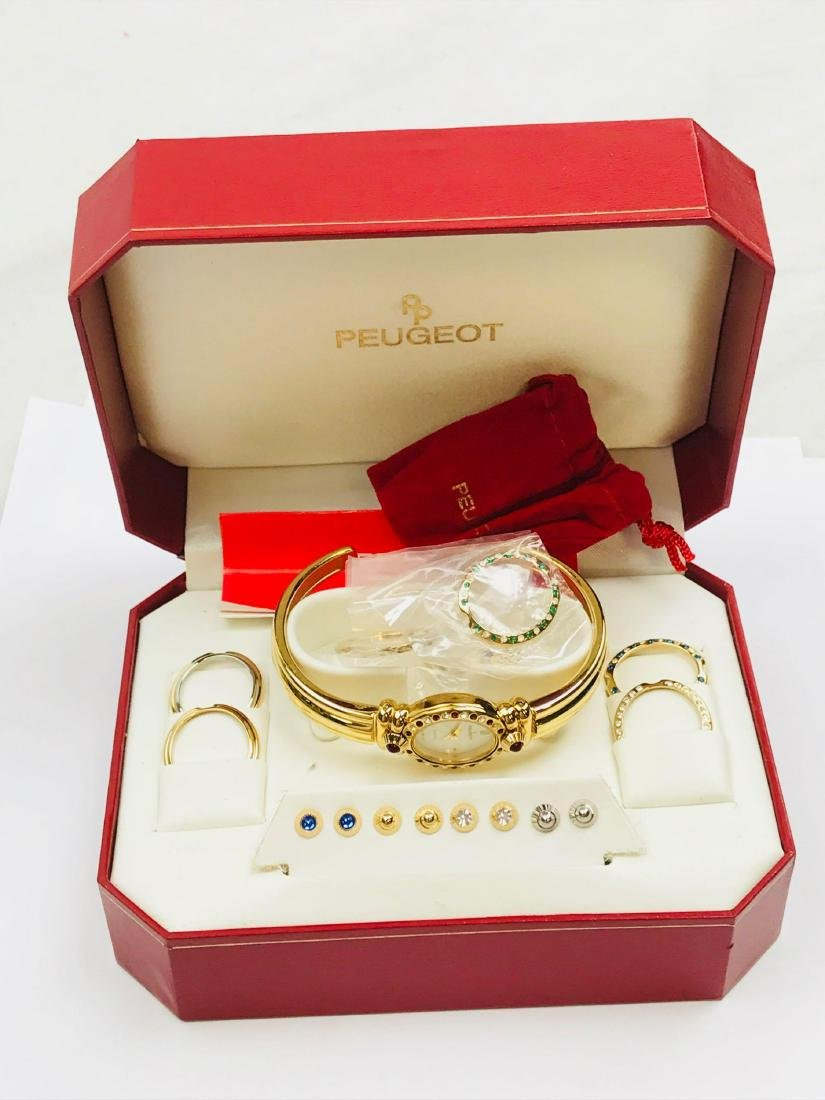 Ladies Peugeot Gold Watch with 7 Interchangeable Bezels - 2