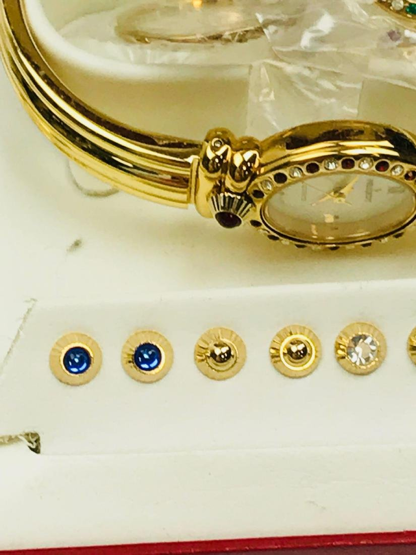 Ladies Peugeot Gold Watch with 7 Interchangeable Bezels - 3