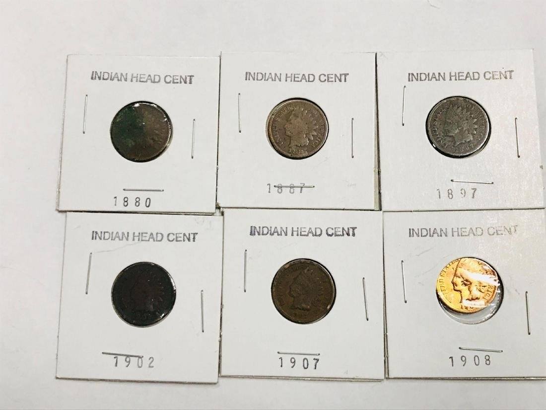 6 Antique Indian Head Penny One Cent Coin - 2