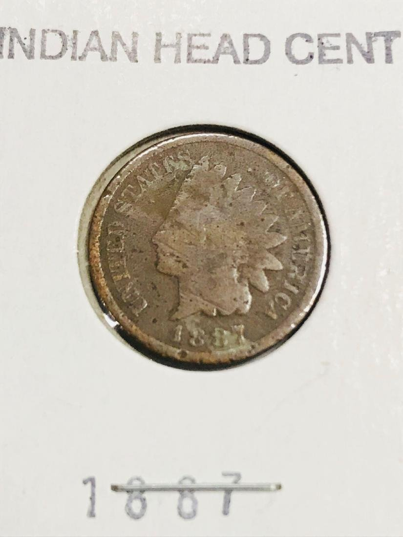 6 Antique Indian Head Penny One Cent Coin - 5