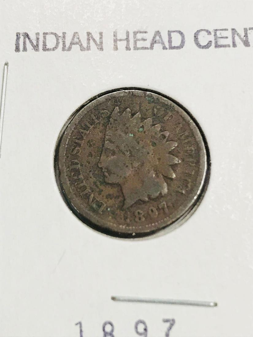 6 Antique Indian Head Penny One Cent Coin - 7