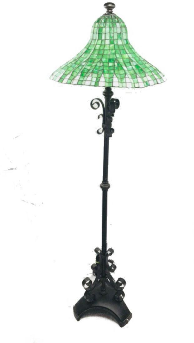 Green and White Tiffany Style Lotus Pagoda Floor Lamp