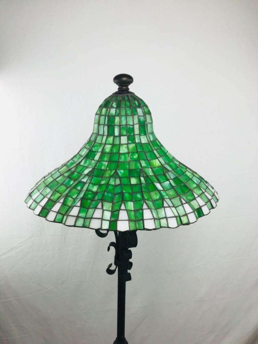 Green and White Tiffany Style Lotus Pagoda Floor Lamp - 2
