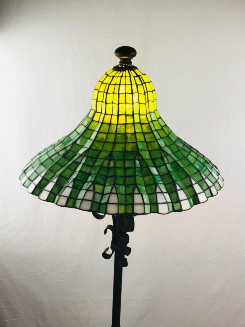 Green and White Tiffany Style Lotus Pagoda Floor Lamp - 8