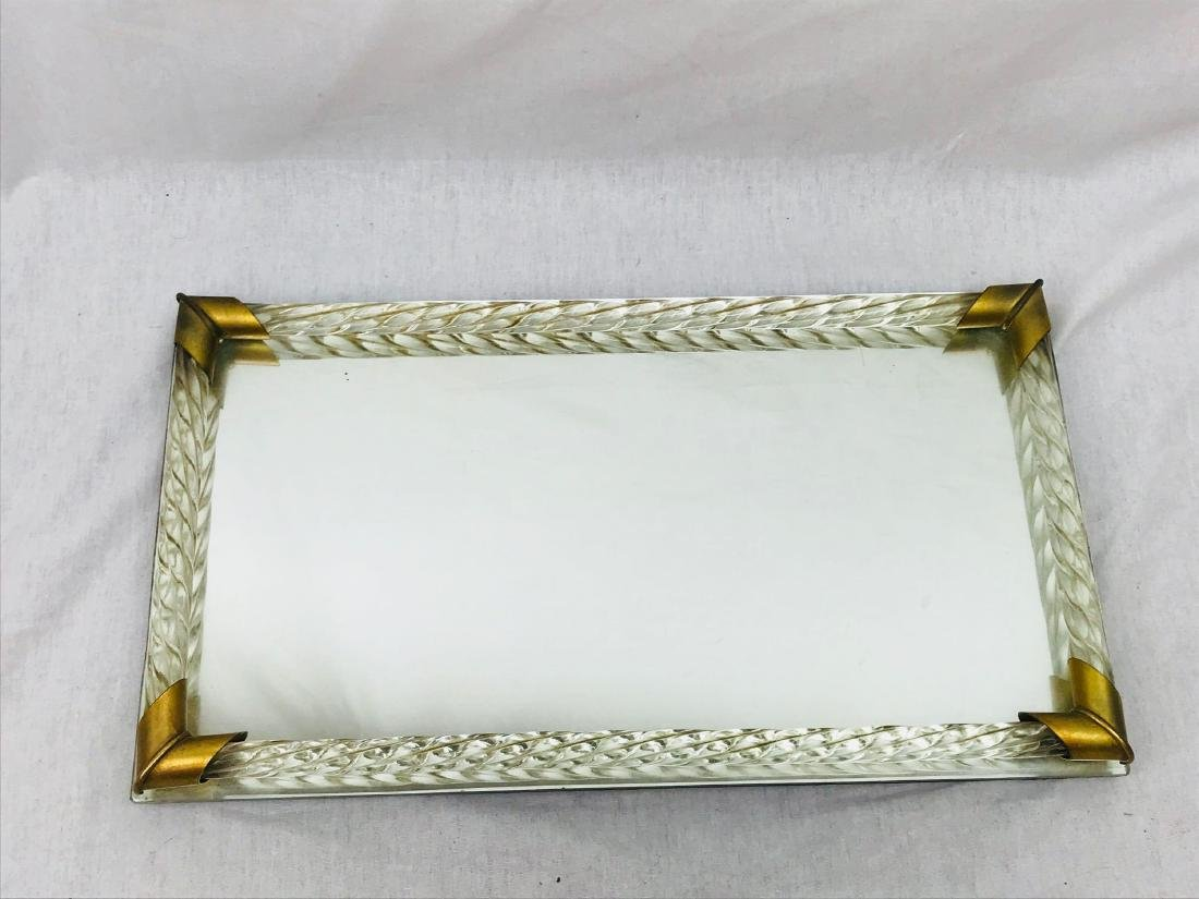 Vintage Lucite and Brass Mirrored Tray - 2