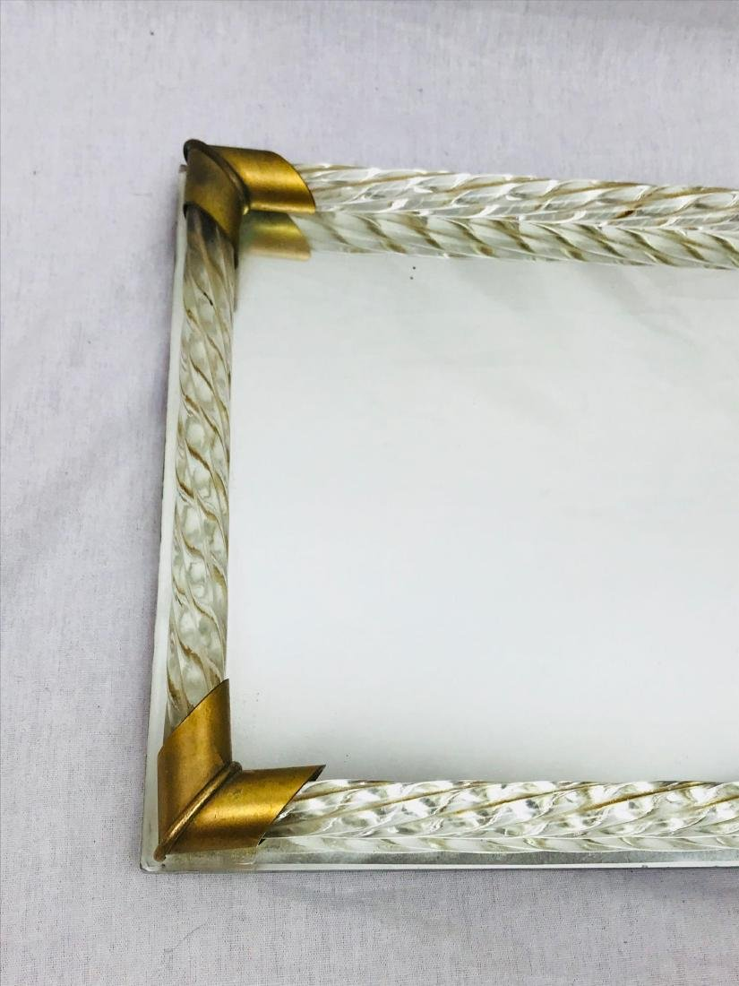 Vintage Lucite and Brass Mirrored Tray - 4