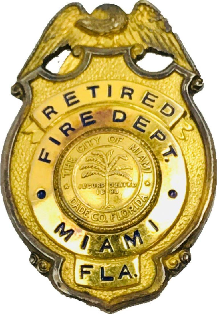 Obsolete City of Miami Fire Department Brass Badge,