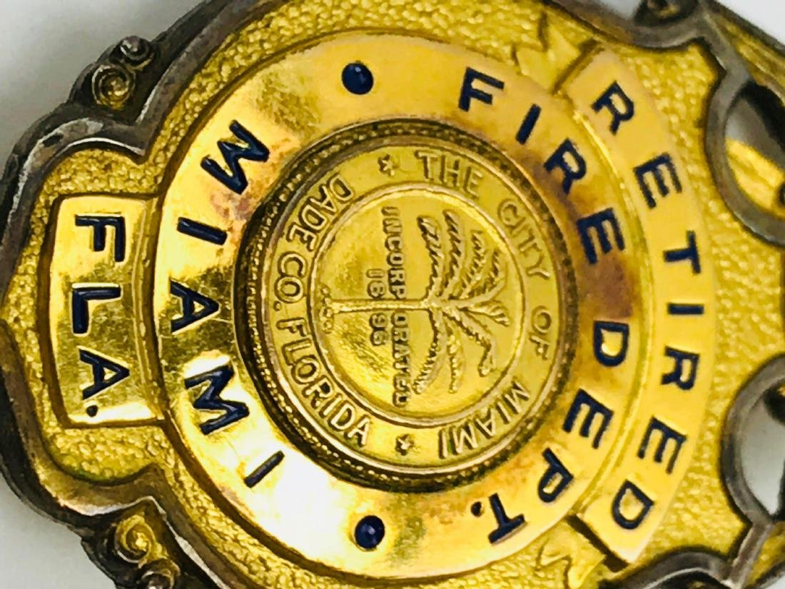 Obsolete City of Miami Fire Department Brass Badge, - 3