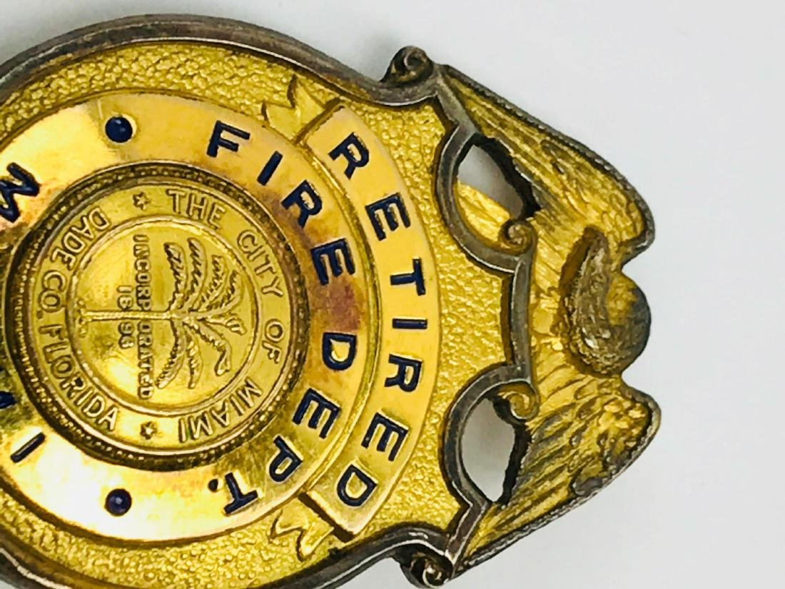 Obsolete City of Miami Fire Department Brass Badge, - 4