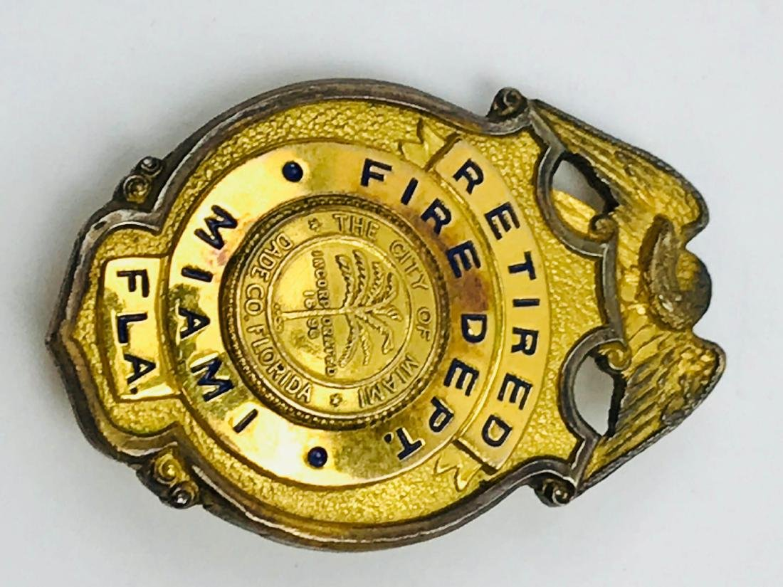 Obsolete City of Miami Fire Department Brass Badge, - 6