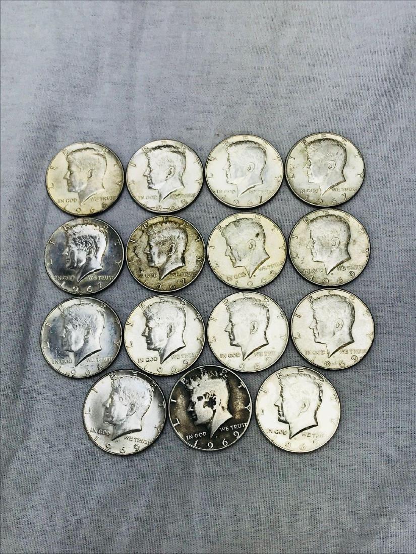 15 Kennedy Half Dollar Coins 1965-69
