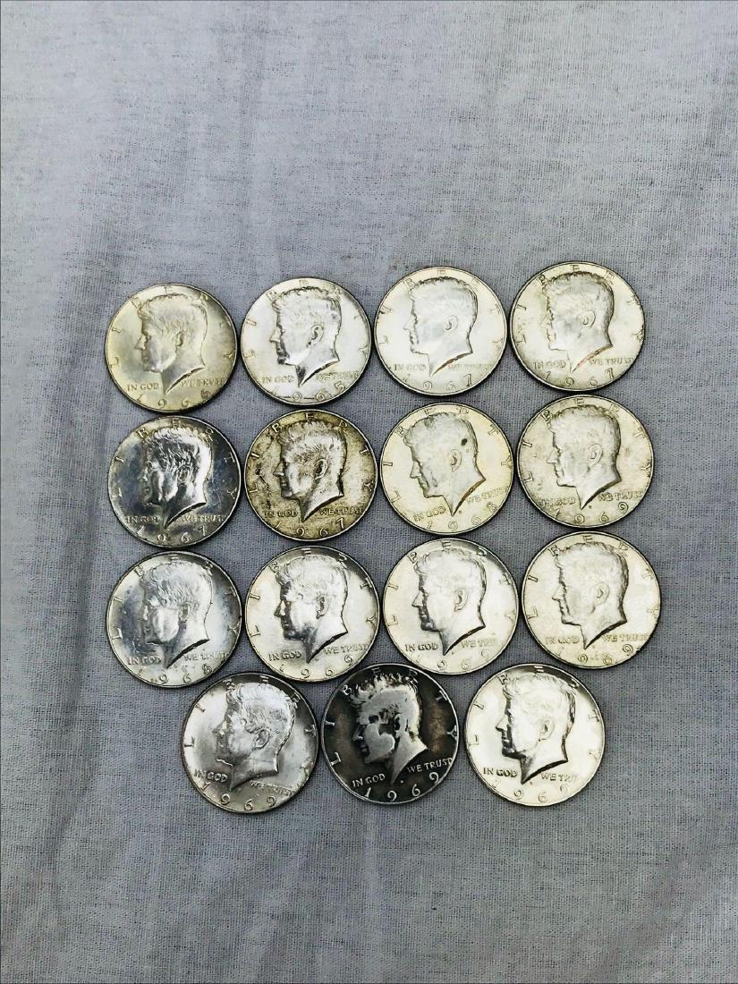 15 Kennedy Half Dollar Coins 1965-69 - 2