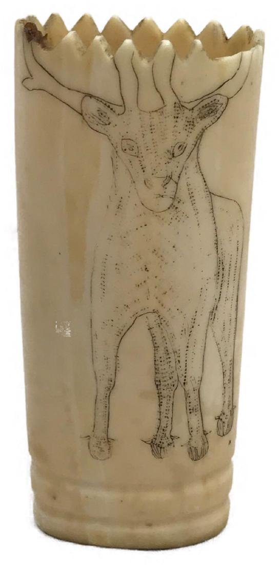 Antique Scrimshaw Carved Bone Pencil Cup
