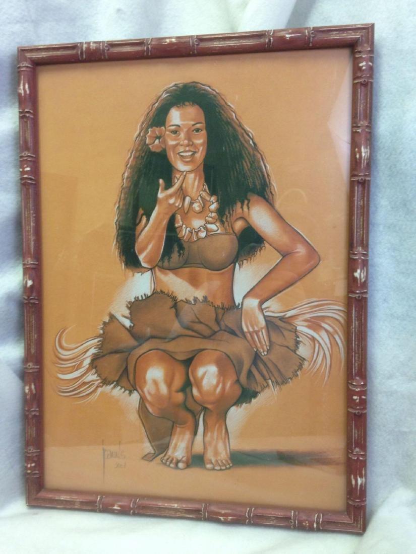 Alain Joannis signed print Polynesian Girl - Tiki