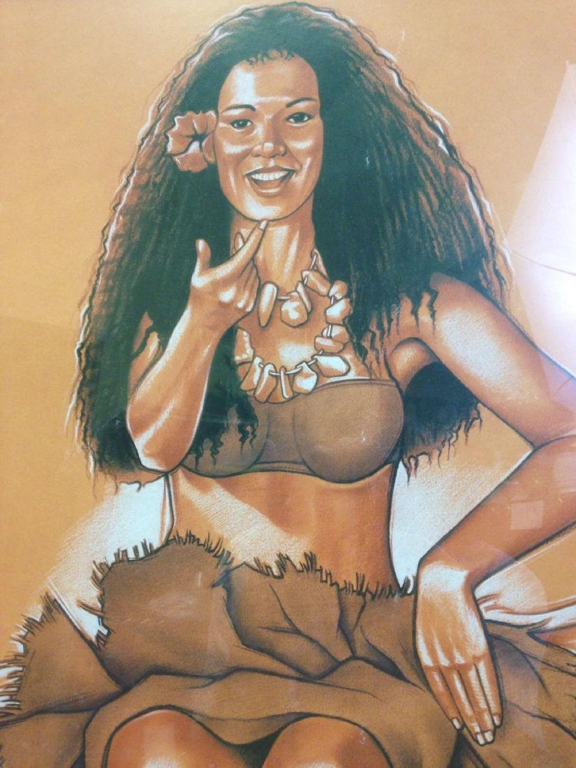 Alain Joannis signed print Polynesian Girl - Tiki - 2