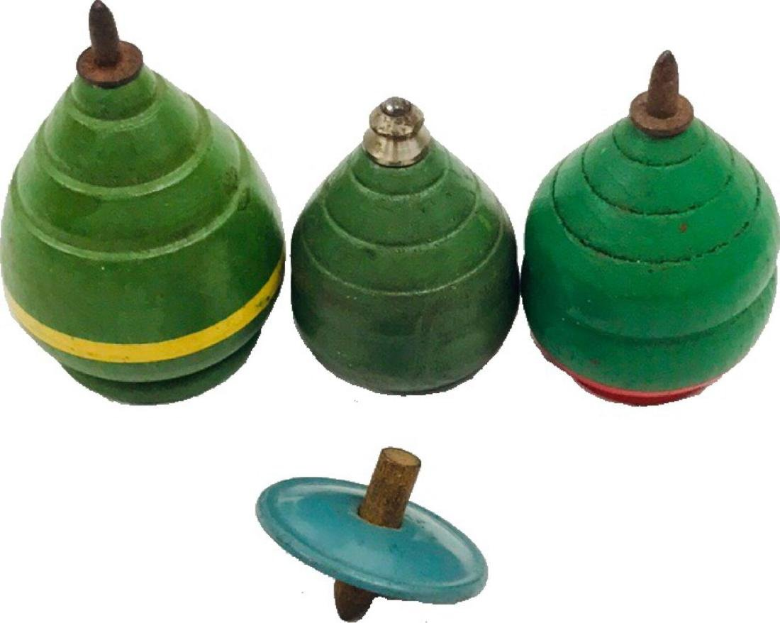 Lot of 3 Vintage Wooden Spinning Tops