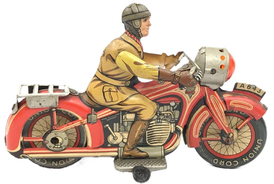 Rare Vintage Tin Type Litho Toy Motorcycle by Arnold