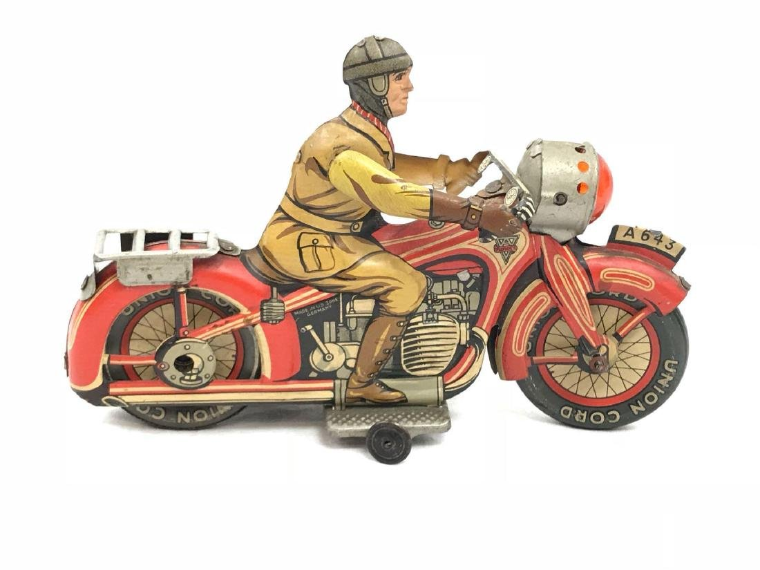 Rare Vintage Tin Type Litho Toy Motorcycle by Arnold - 2