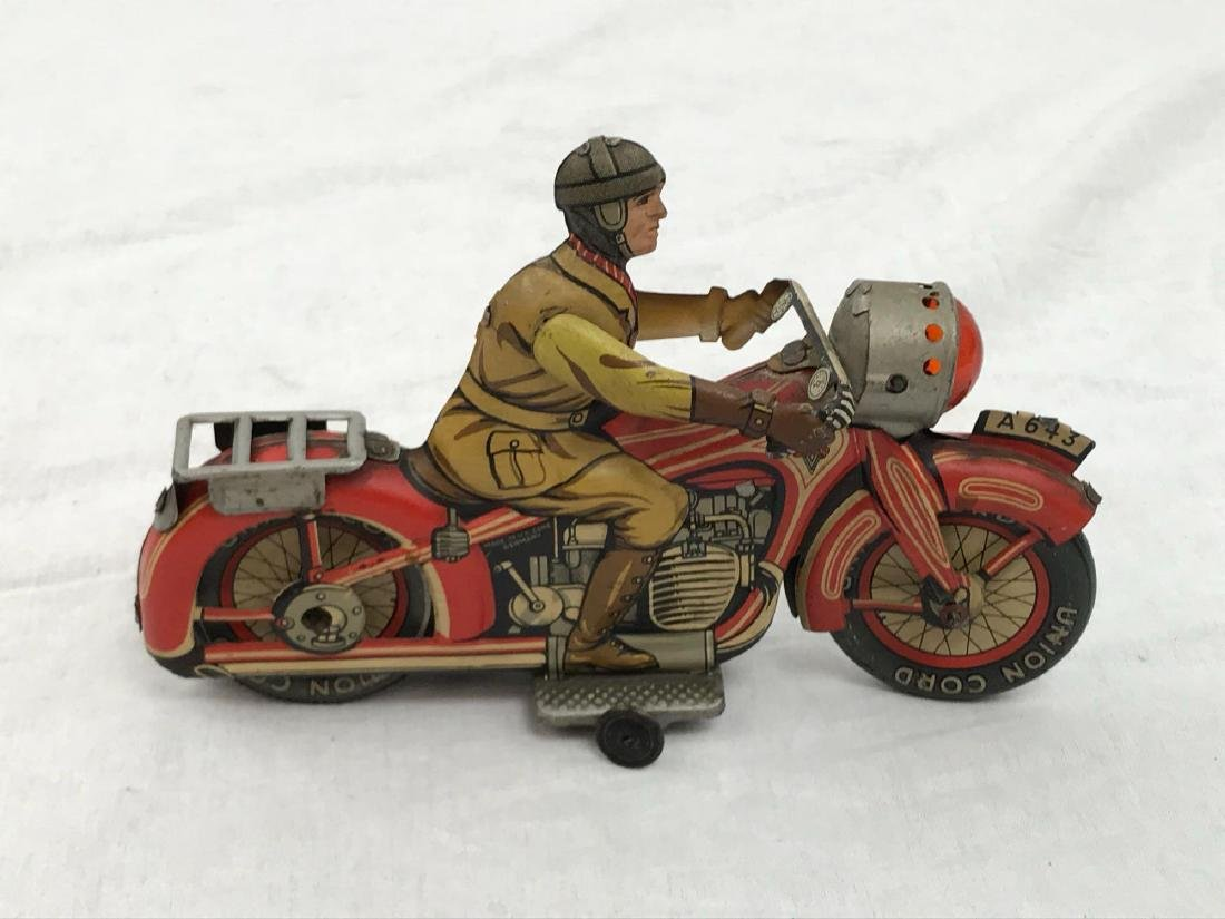 Rare Vintage Tin Type Litho Toy Motorcycle by Arnold - 3