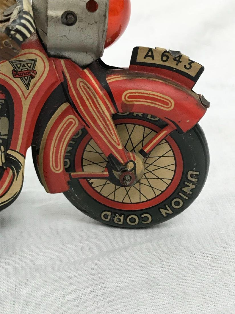 Rare Vintage Tin Type Litho Toy Motorcycle by Arnold - 4