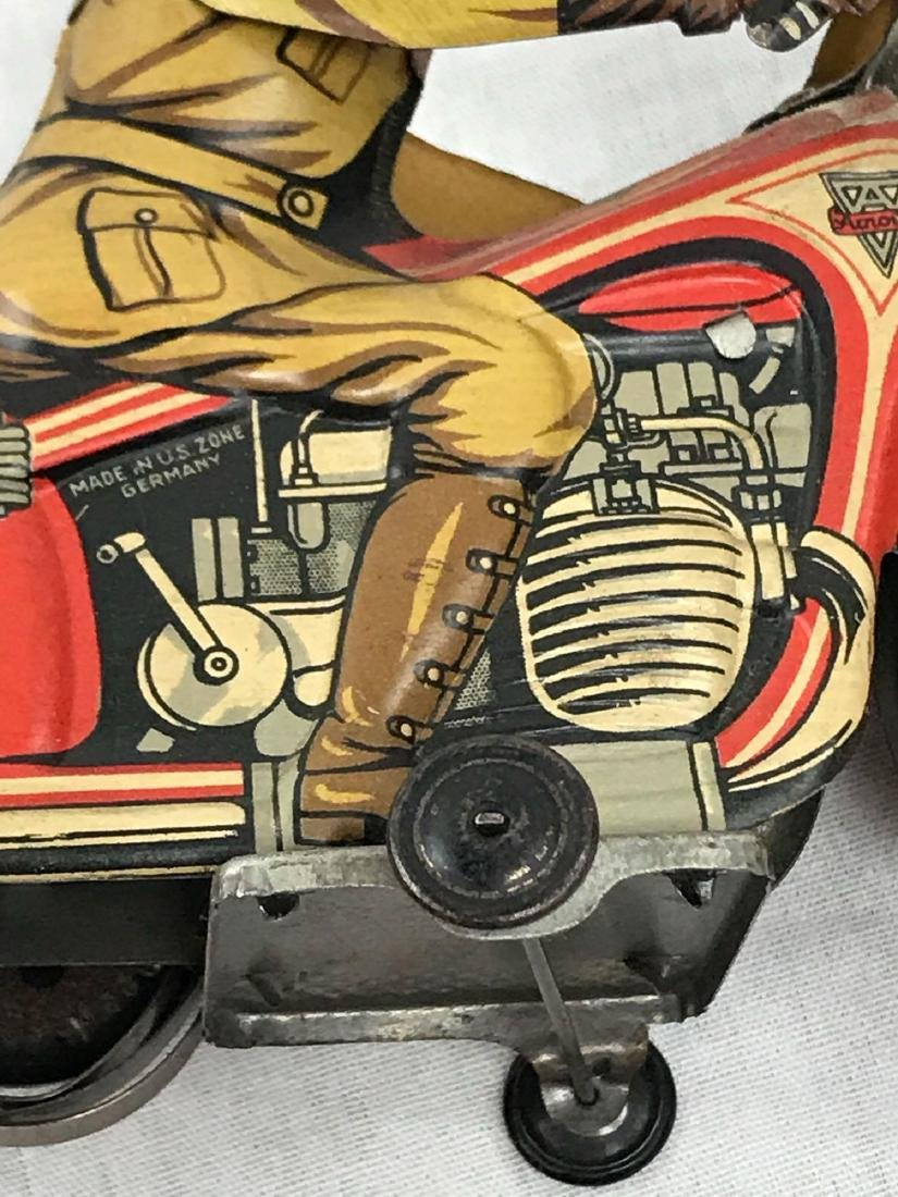 Rare Vintage Tin Type Litho Toy Motorcycle by Arnold - 8
