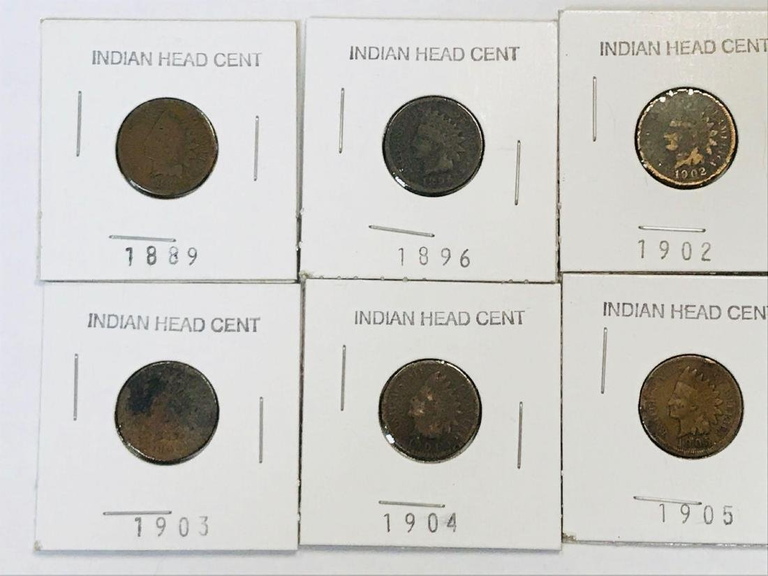 6 Antique Indian Head Penny One Cent Coin
