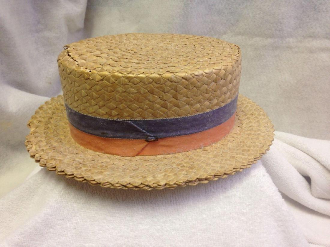 vintage 1920's Straw Boater or Skimmer Hat Custom Made - 2