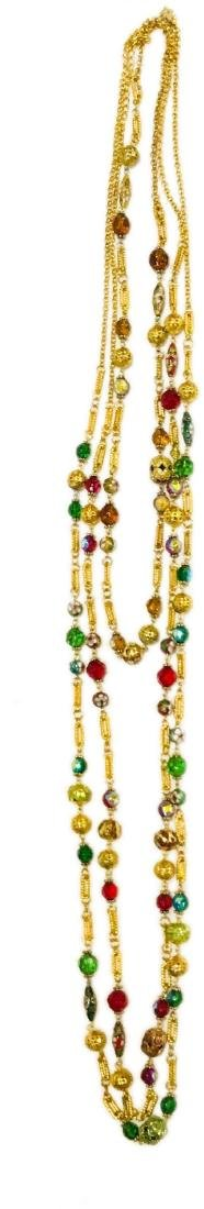 3 Glass Beaded Multi Length Necklace