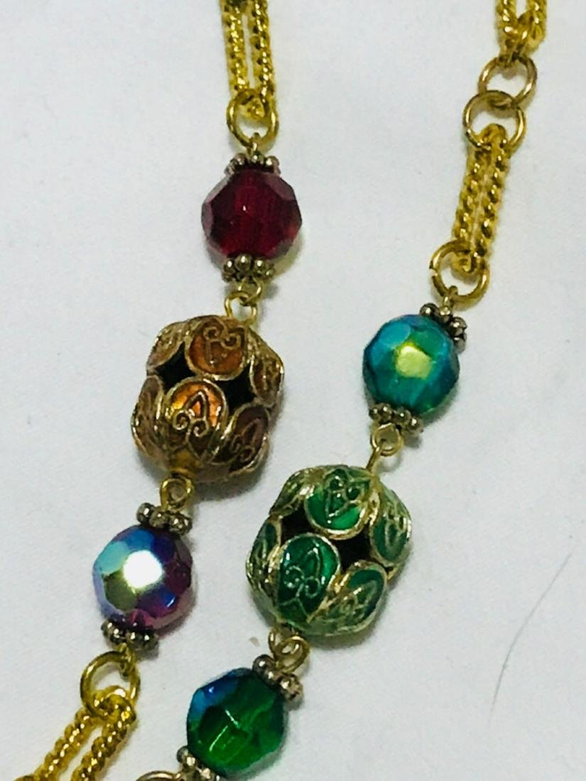3 Glass Beaded Multi Length Necklace - 2
