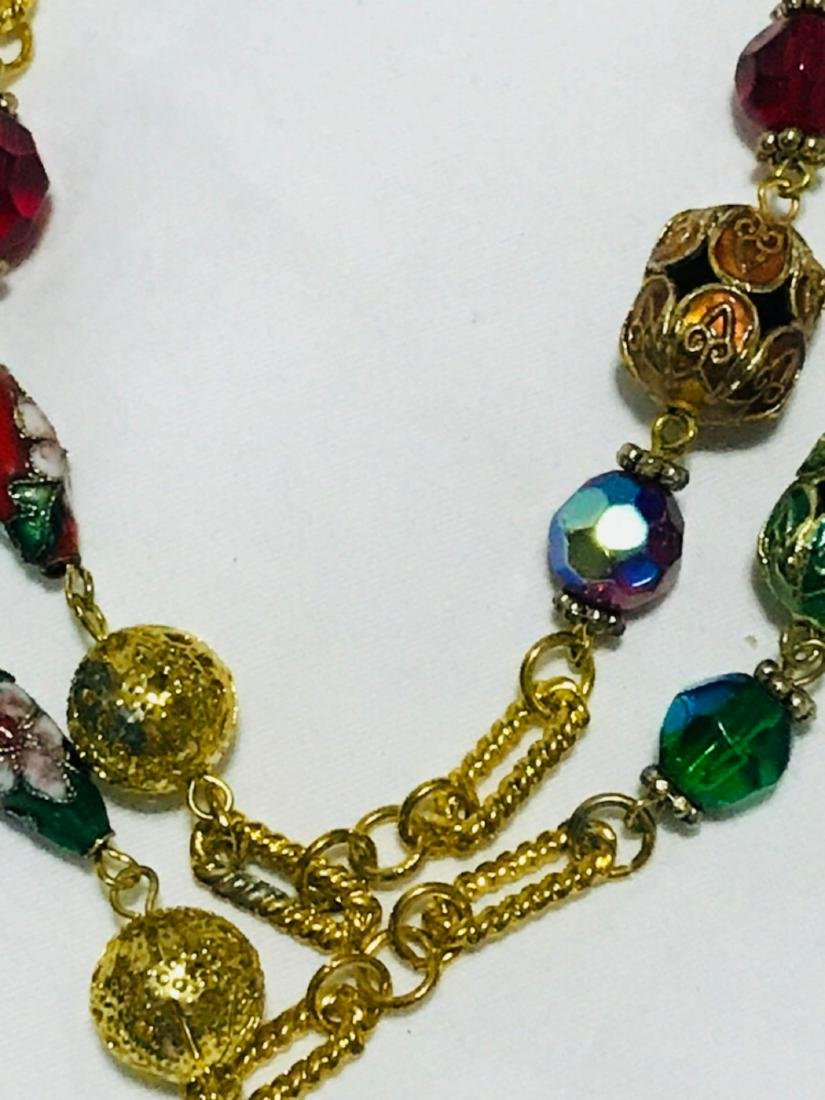 3 Glass Beaded Multi Length Necklace - 3