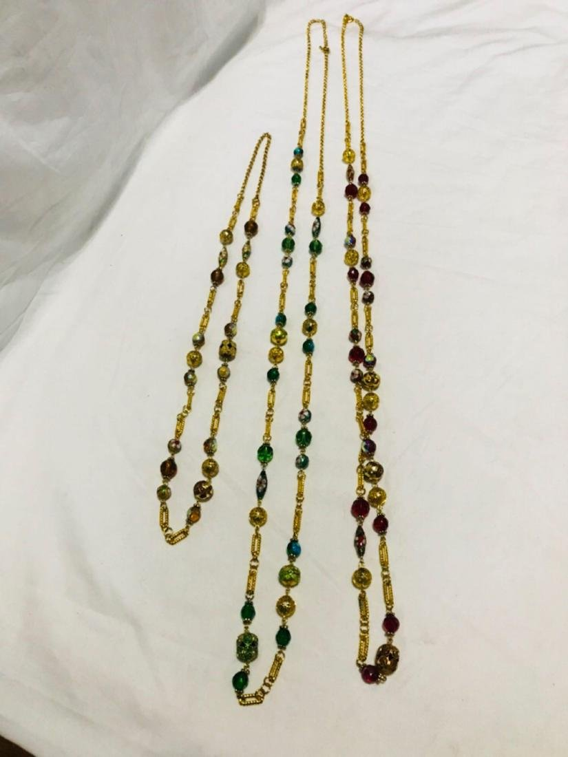 3 Glass Beaded Multi Length Necklace - 8