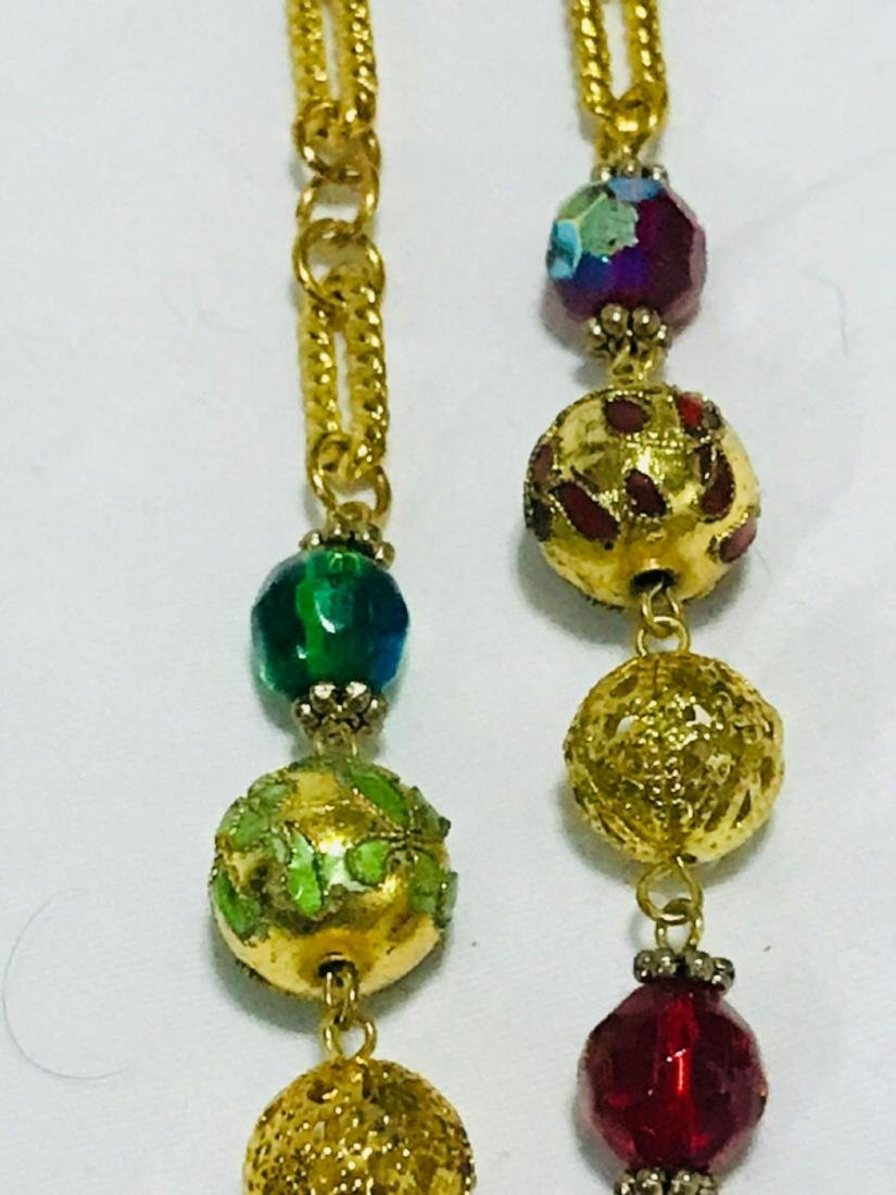 3 Glass Beaded Multi Length Necklace - 9