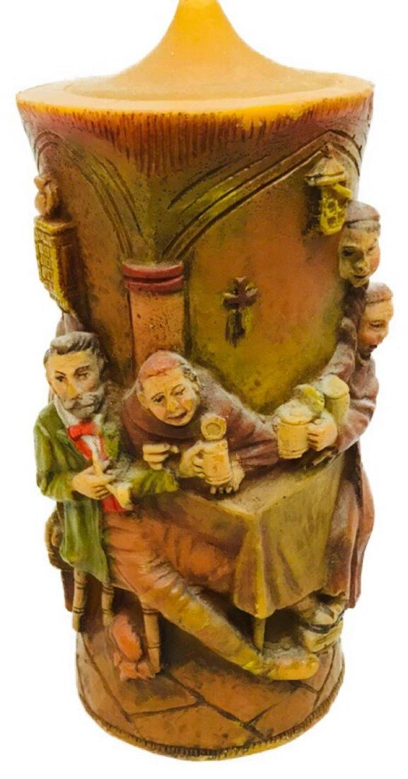 Vintage German Carved Candle with Scene Showing Monks