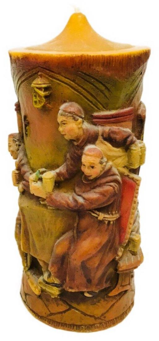 Vintage German Carved Candle with Scene Showing Monks - 2