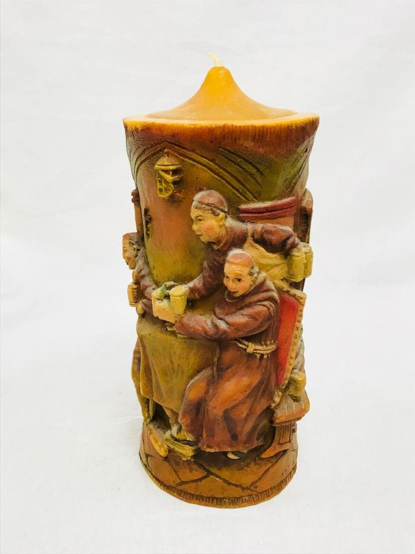 Vintage German Carved Candle with Scene Showing Monks - 3