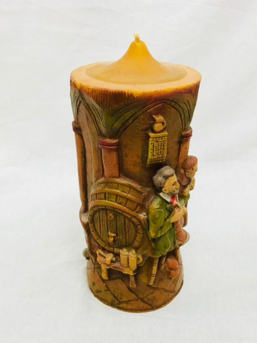 Vintage German Carved Candle with Scene Showing Monks - 5