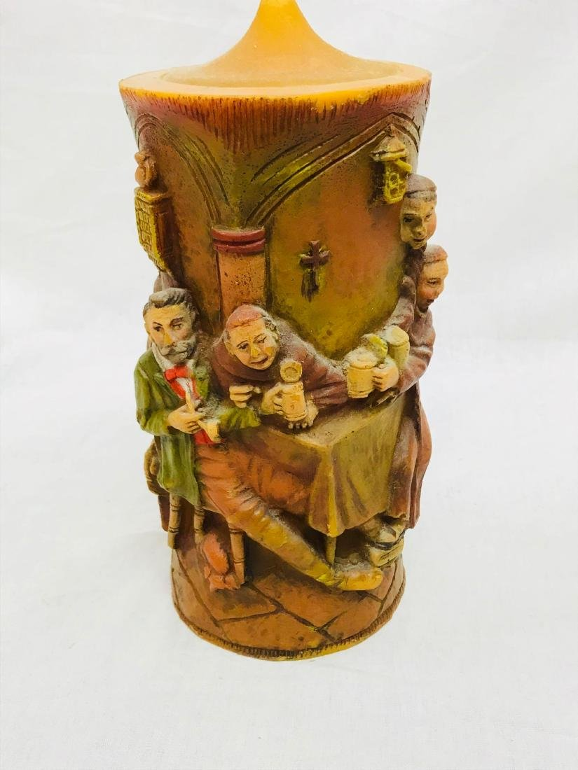 Vintage German Carved Candle with Scene Showing Monks - 6