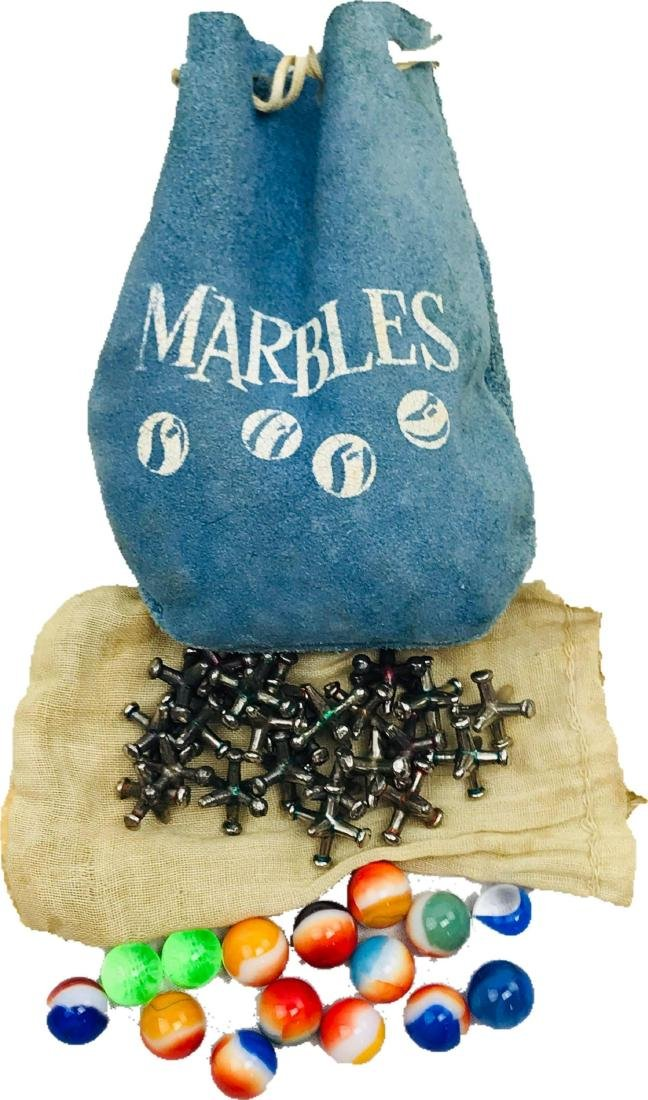 Vintage Suede Bag Marbles and Jacks