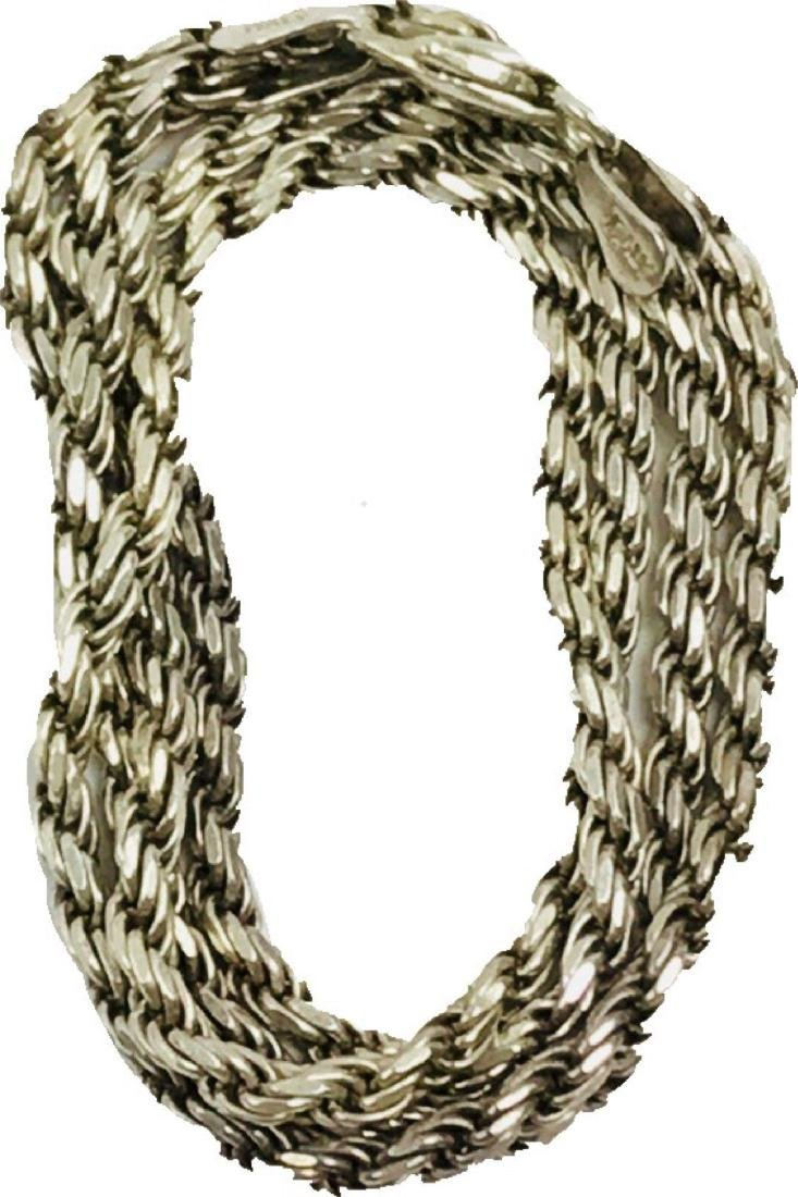 Vintage Italian Sterling Silver Rope Necklace