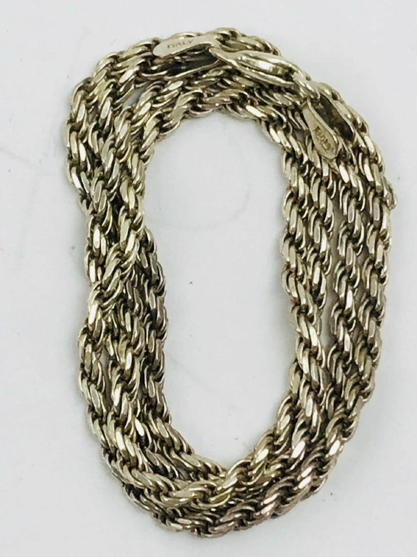 Vintage Italian Sterling Silver Rope Necklace - 2