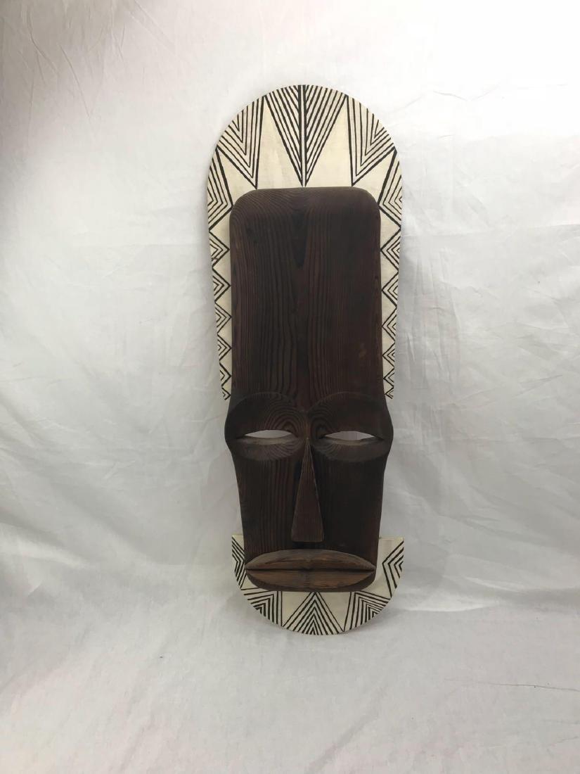 Vintage Carved Tribal Mask, Mounted - 2