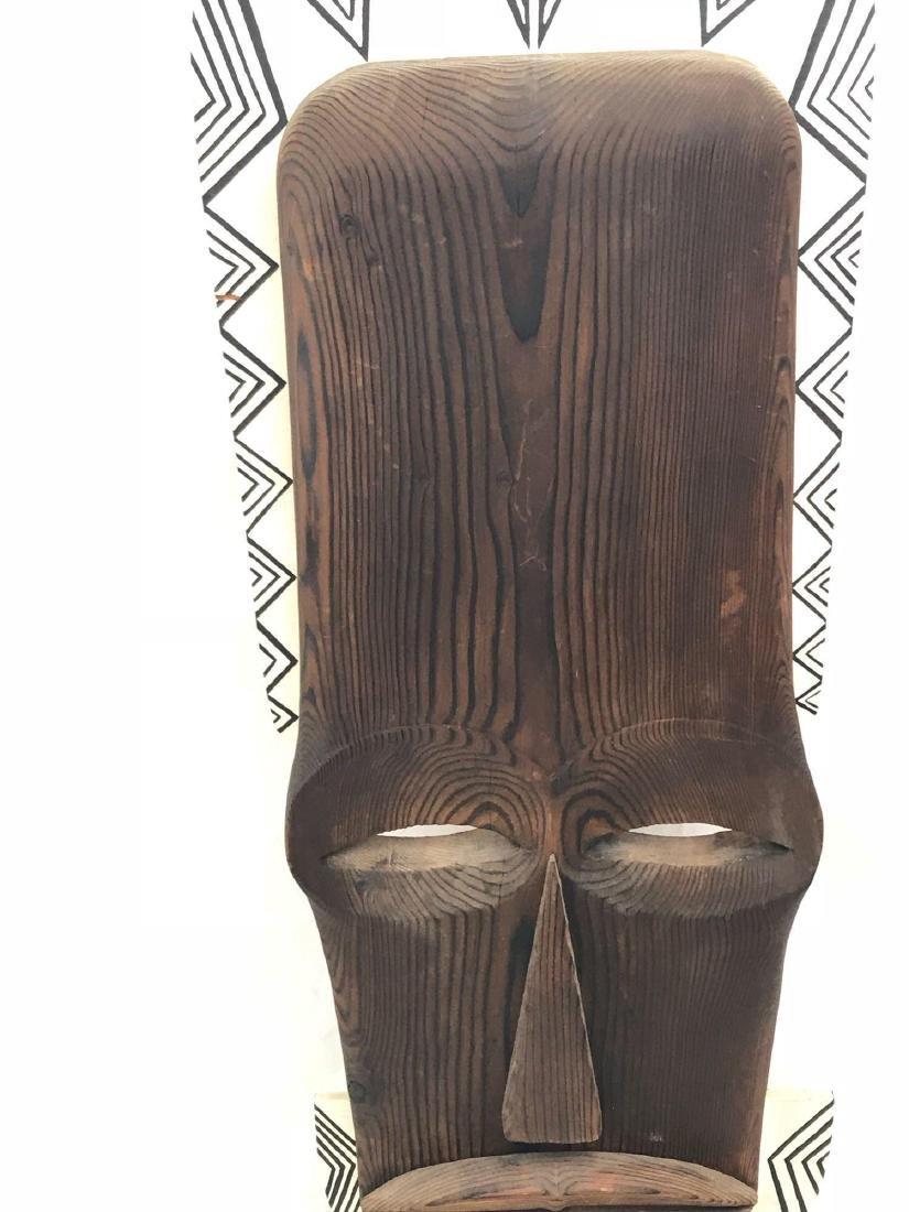 Vintage Carved Tribal Mask, Mounted - 5
