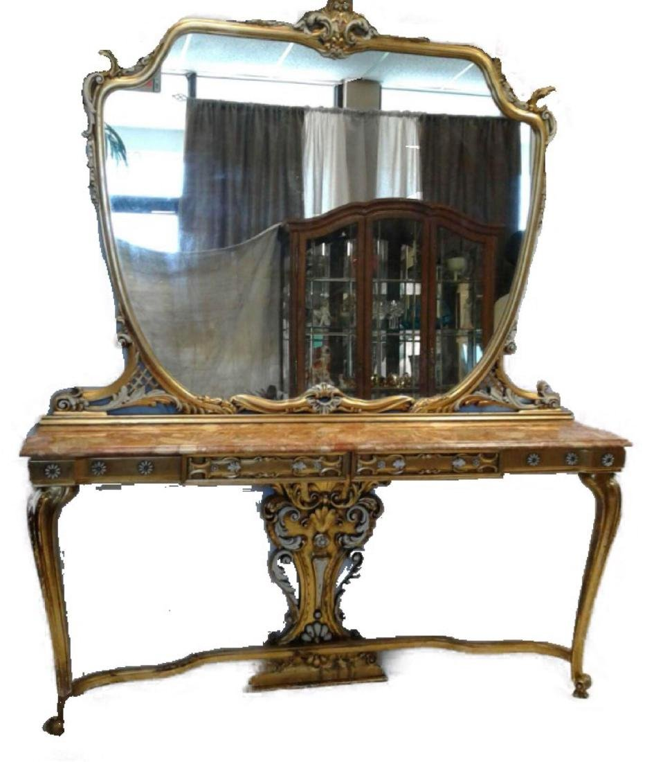 Late Baroque/Rococo Style Console Table with Mirror