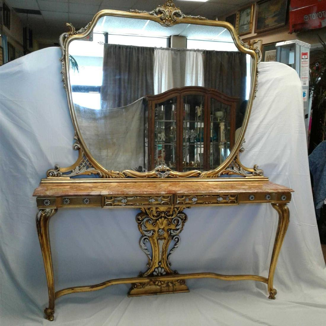 Late Baroque/Rococo Style Console Table with Mirror - 4