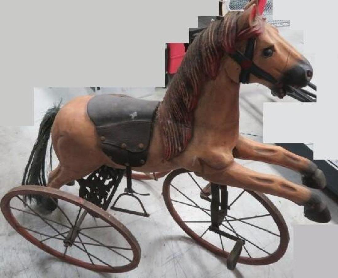 Antique Tricycle Wooden Horse