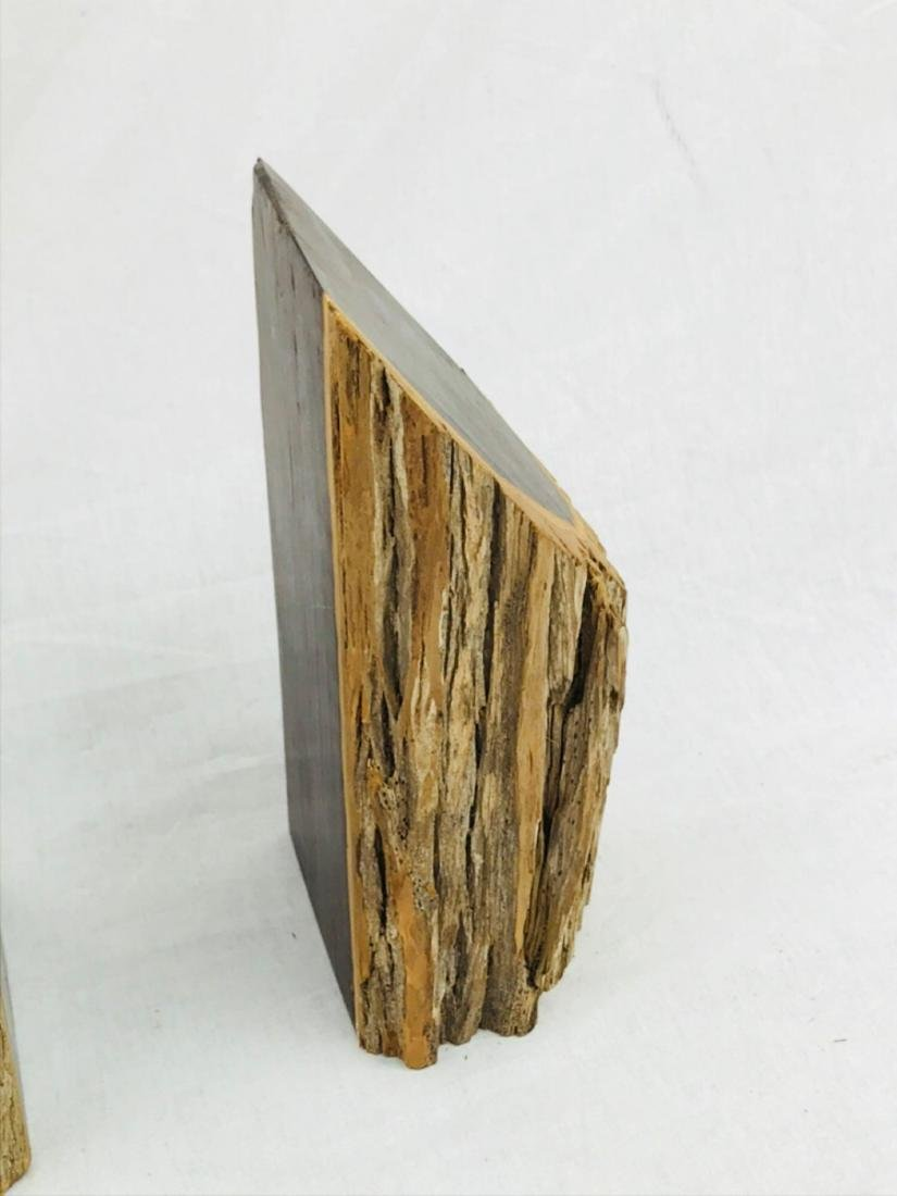 Vintage Unique Exotic Hard Wood Bookends - 3
